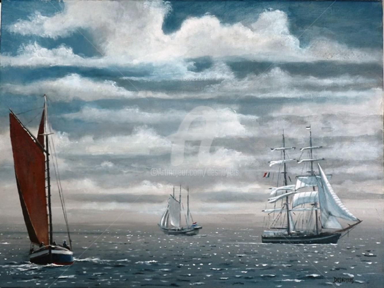 Desnoyers - Nave dans le rade de Brest