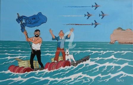 DESNOYERS - Tintin à Etretat
