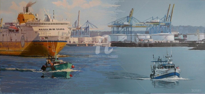 Desnoyers - Au Havre départ du ferry & d'un chalut.